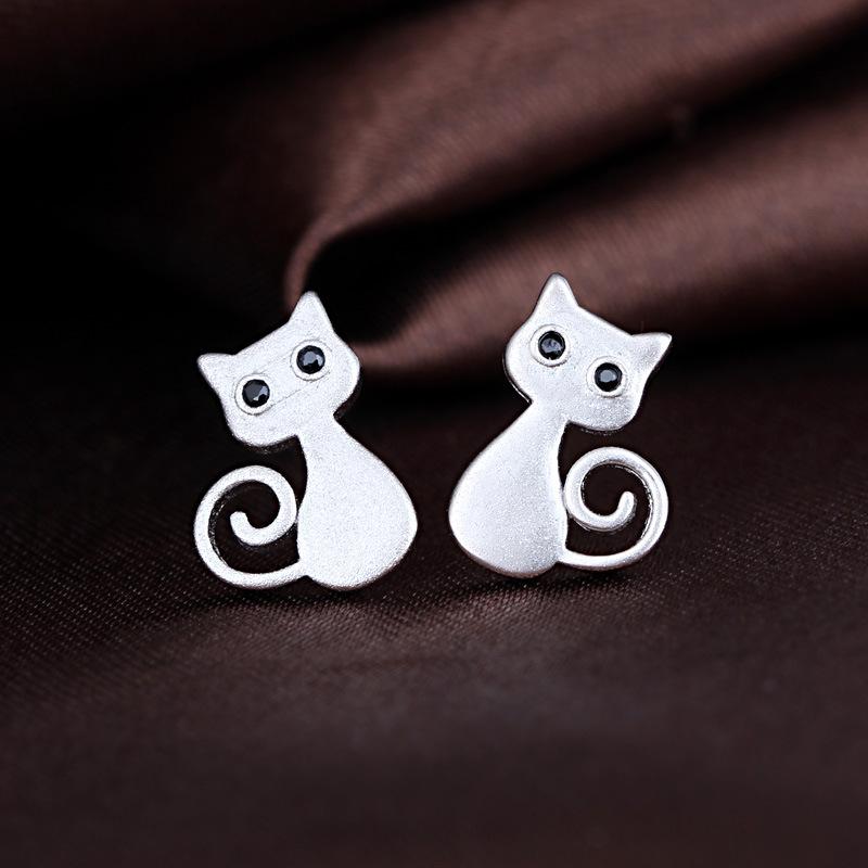 Silver plated lovely cat stud earring wholesale women earring jewelry cat jewelry <br><br>Aliexpress