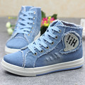Spring New High Help Canvas Shoes Female High Hole Denim Zipper Elevator Women s Casual Shoes