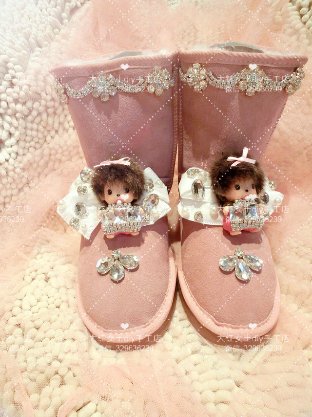 2015 warm boots women shoes winter bota feminina ankle round toe fur rhinestone flats snow