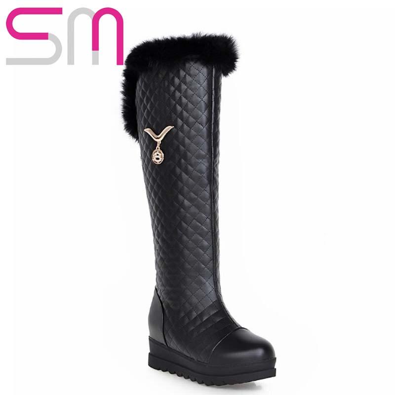 Women Boots Rabbit fur Grid Metal Charm Knee High Snow Boots Hidden Wedges Thick Sole Platform Shoes Woman Warm Winter Boots
