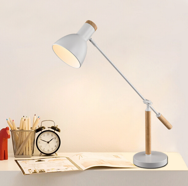 Nordic Chinese Solid Wood Table Lamp Simple Modern Bedroom Study Adjustable Table Light Free Shipping(China (Mainland))