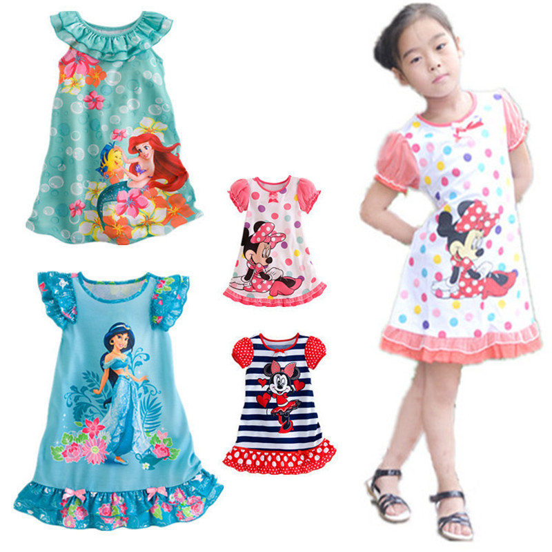 2015 new princess minne mouse baby girls suit cartoon print dress 3~7age kids dresses free shipping 1pcs retail(China (Mainland))