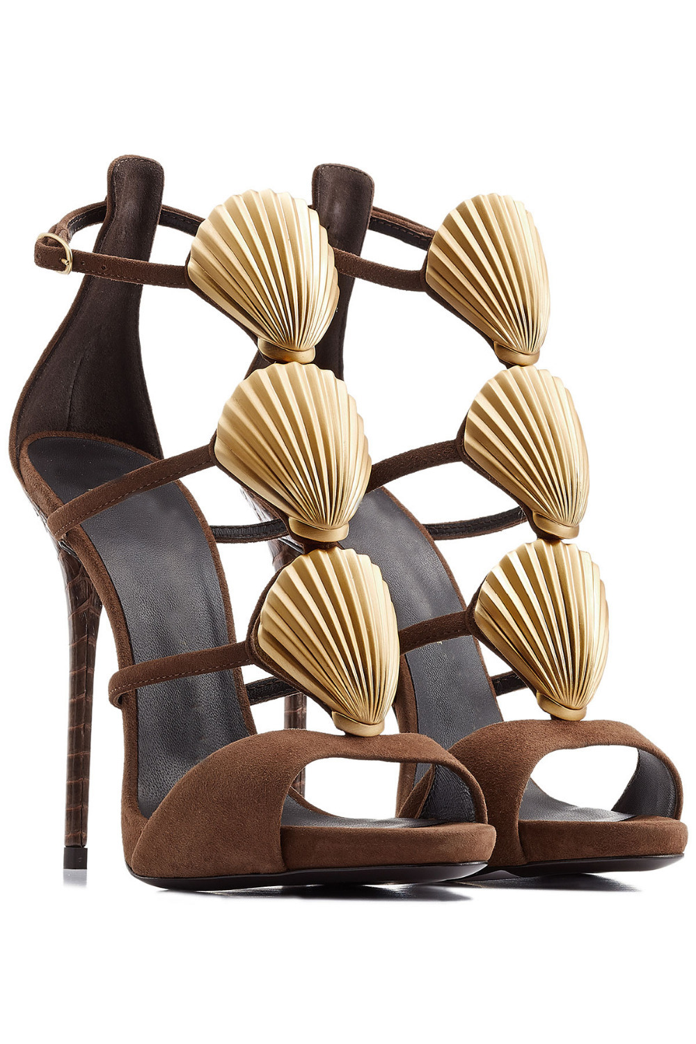 Brown Strappy High Heel Sandals