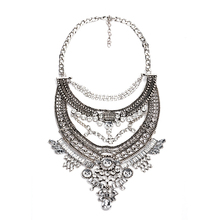 2016 Hot Sale Crystal Maxi Necklace High Quality Vintage Jewelry Multilayer Beads Statement Necklaces Pendants Love