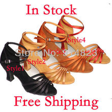 IN STOCK 4 colors wholesale lady's ballroom/latin dance shoes, women dance shoes, 6cm heel hight,1 pair mini order,free shiping(China (Mainland))