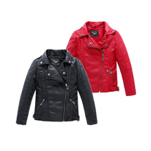 Boys Girls Autumn Winter Jacket  2016 New Design Black Red Rose Red Purple Color Turn-down Collar Infant Girls Leather Jacket(China (Mainland))