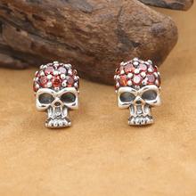 NEW! Handmade Thai Silver Skull Earrings Vintage 925 Silver Skull Earring Real Sterling Silver Man EarringA(China (Mainland))