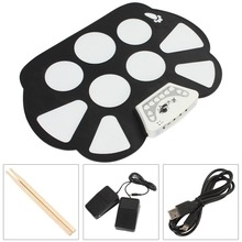 W758 Digital Portable Convenient 9 Pad Musical Instrument Electronic Roll-up Drum Kit(China (Mainland))