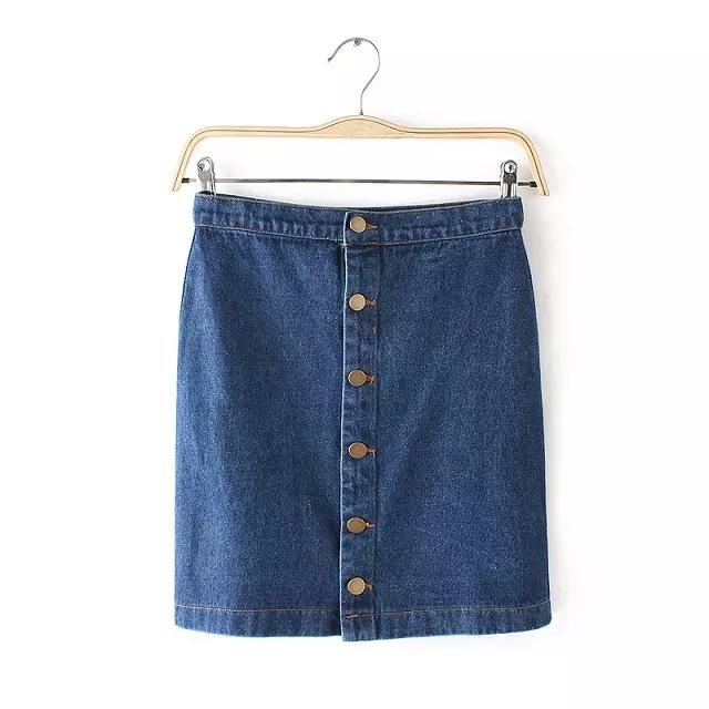 2015 летом новый европейский и американских женщин однобортный кнопки джинсовая юбка женский демин юбки Saia Feniminos