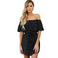 Polka Dot Womens Dresses Slash Neck Ruffles Vintage Style Off Shoulder Vestidos Femme Summer Fashion Causal