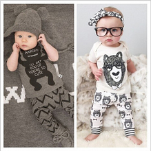 Buy Fashion Summer Baby Clothing Sets 2PC Girls Suits 100% Cotton Monsters Sets Short Sleeve T-Shirt+Pants Infant Boys Brand Clothes for $6.22 in AliExpress store