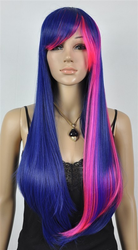 Charm Long Lolita Pink Mixed Blue Straight Anime Cosplay Wig/Wigs - chuanxia chuan's store