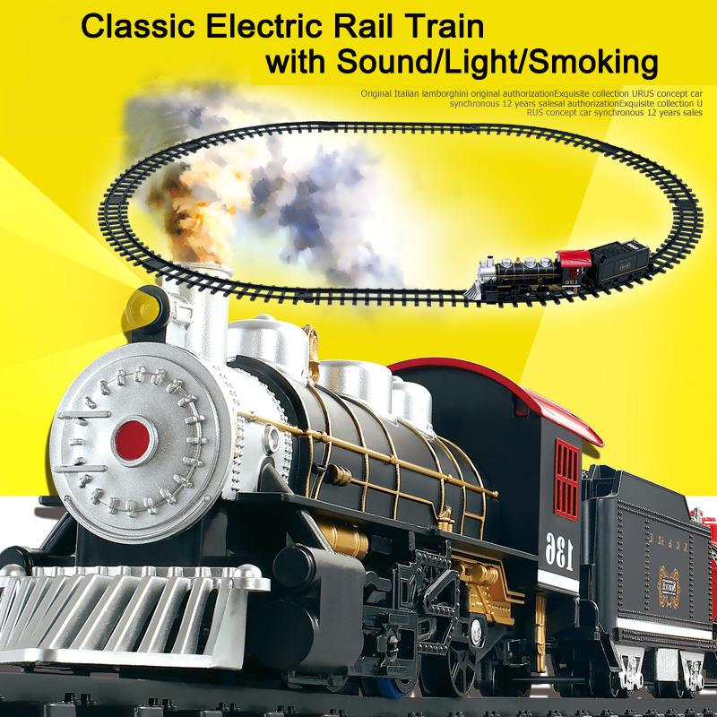 Классические Игрушки для детей Электрический Вагон Железнодорожного Транспорта с Звук и Свет и Курить Электрический автомобиль