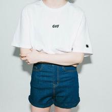 Women Summer T-Shirts Embroidery Sun Moon Short Sleeve Girl T Shirt Day Night Letter Tops Through Sister T-shirt Girl Clothing(China (Mainland))