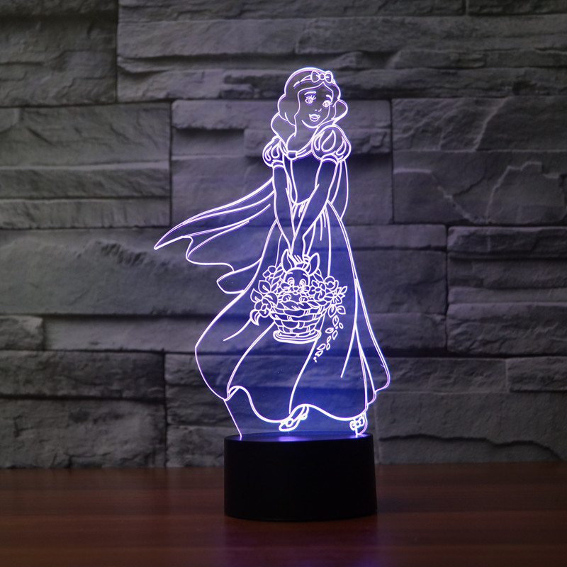 Fairy Tale the seven dwarfs and Princess Colorful LED Baby Nightlight 3D Lamp Decor Bedroom Lighting for Girls Toy Xmas Gift(China (Mainland))