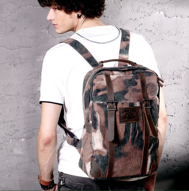 2014 new fashion canvas+cowhide bag men Male military camouflage backpack Washing Travel shoulder bag hiking bag free shipping<br><br>Aliexpress