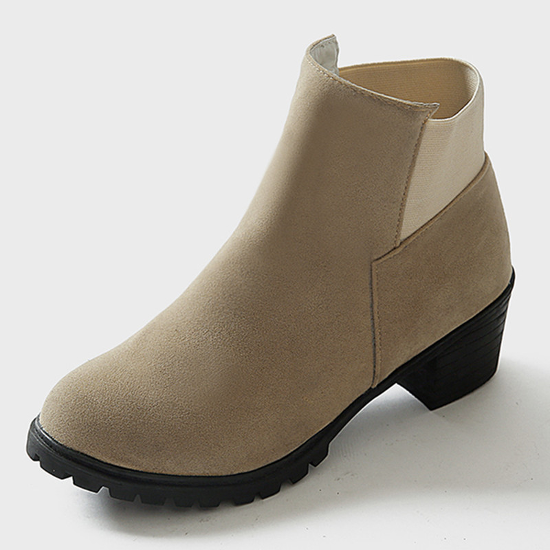 New Spike Heel Med Heel Ankle Boots High-Quality Suede Chelsea Boots Simple Comfortable Short Riding Women Boots Botas Femininas(China (Mainland))