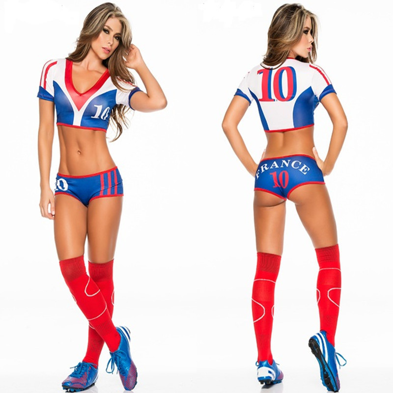 Football Costume Women France Soccer Player Girl