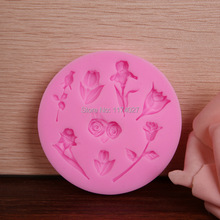 Free shipping Many rose flowers silicone cake mold decorating tools DIY chocolate mould kitchen accessories