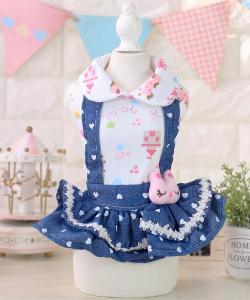 2016 new dogs cats lovely denim dress clothes doggy fashion princess skirts costume puppy party dresses clothing 1pcs(China (Mainland))