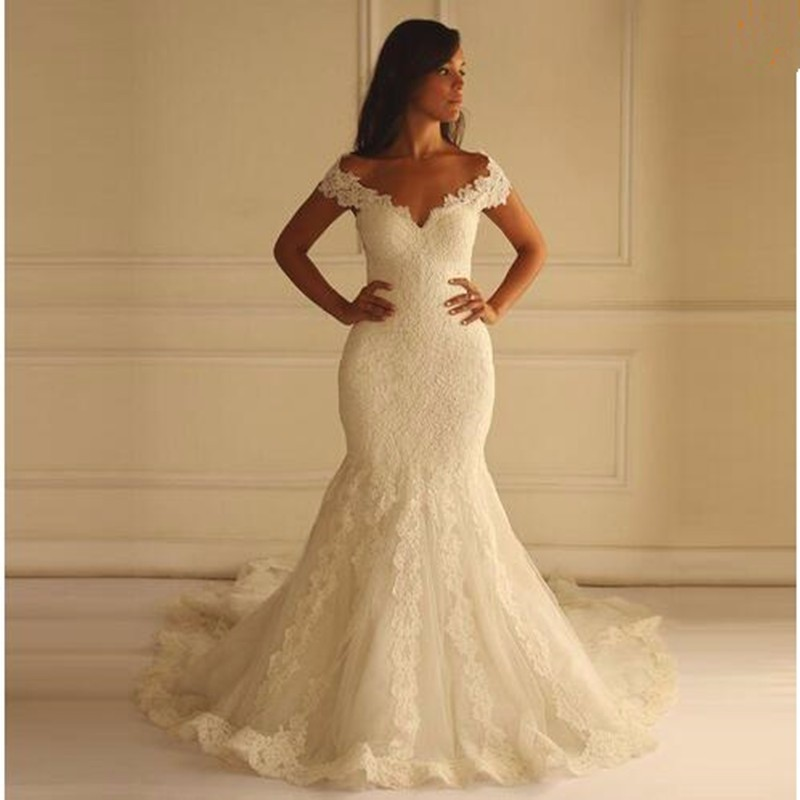 Hot sale long lace mermaid wedding dresses sexy v neck for Wedding dress for sale cheap