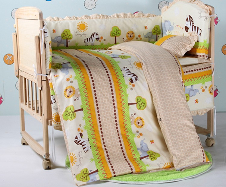 Promotion! 7pcs Baby Bedding Set Crib Netting Bumpers Newborn Baby Products (bumper+duvet+matress+pillow)(China (Mainland))