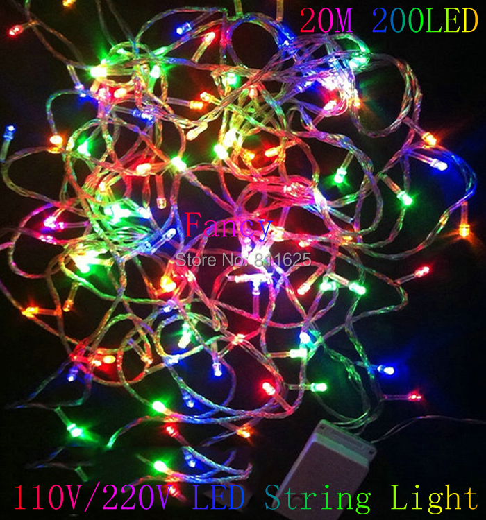 200 LED 20M String Fairy Lights Christmas Xmas 64ft Garland decoration Wedding party Decoration Colourful/Blue/White/Yellow/Pink(China (Mainland))