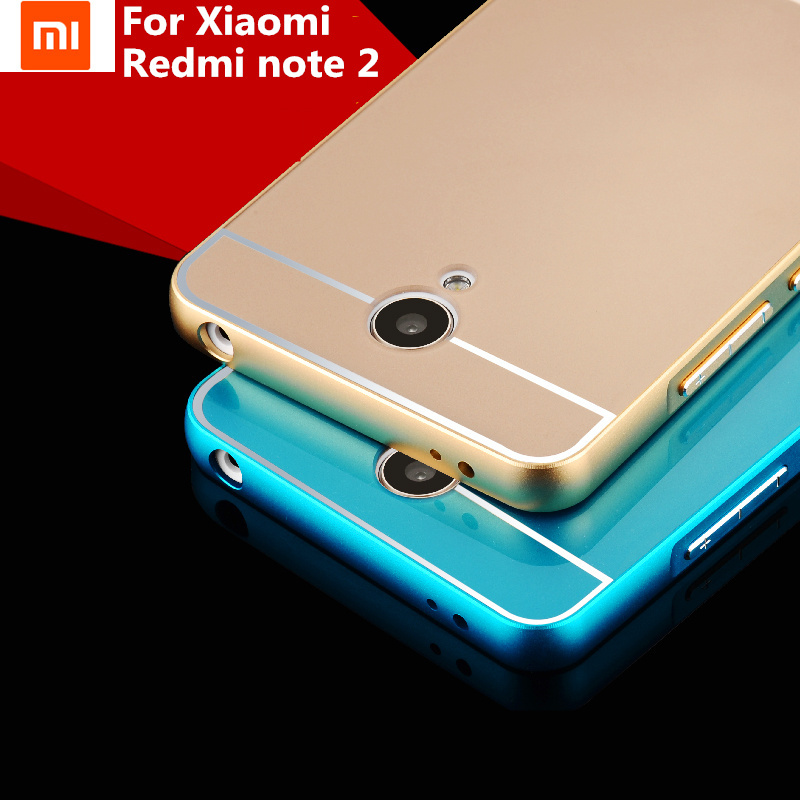 Xiaomi Redmi Note 2 Case Cover Luxury Frame Hybrid Aluminum Metal +Acrylic Back Case for redmi note2(China (Mainland))