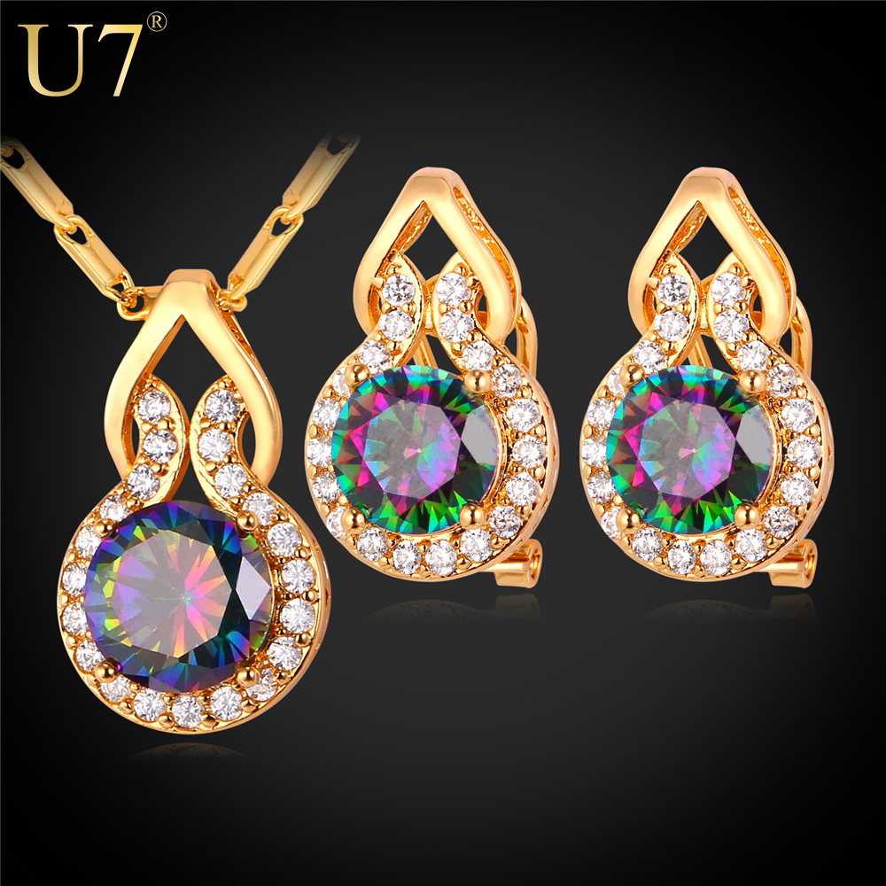 U7 European Big Crystal Jewelry Sets 18K Gold /platinum Plated Round Earrings Necklace Crystal Set For Women Party Gift S798