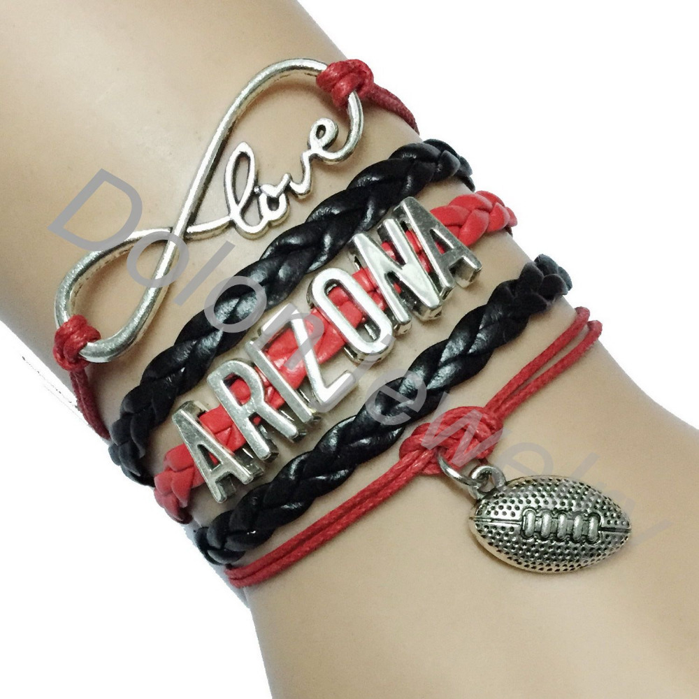 Drop Shipping Red with Black Infinity Love Arizona Cardinals USA NFL Place Name Football Team Bracelet Gift for Club College(China (Mainland))