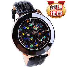 GUOU Marca de luxo Genuína Pulseira de Couro Mulheres Relógio Vestido Relógios Ladies Diamante de Cristal Cheio de Strass Relógio De Quartzo Com Logotipo