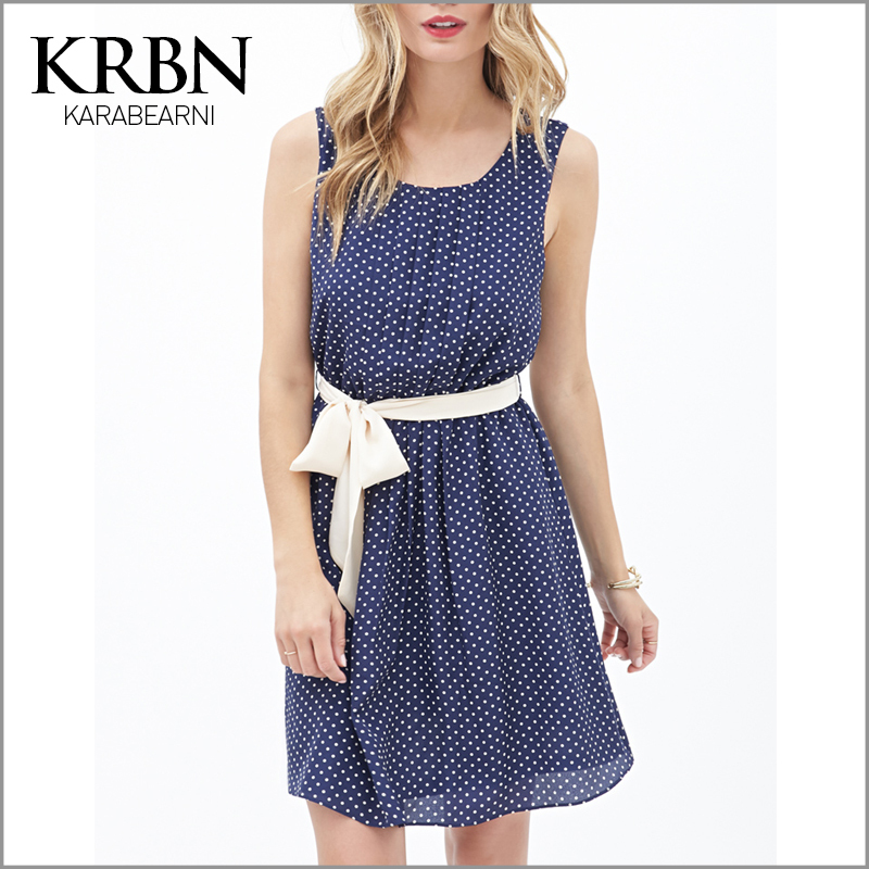 womens summer dresses 2015 summer plus size women clothing women dress chiffon casual vintage dress mini dot beach dress K15012(China (Mainland))