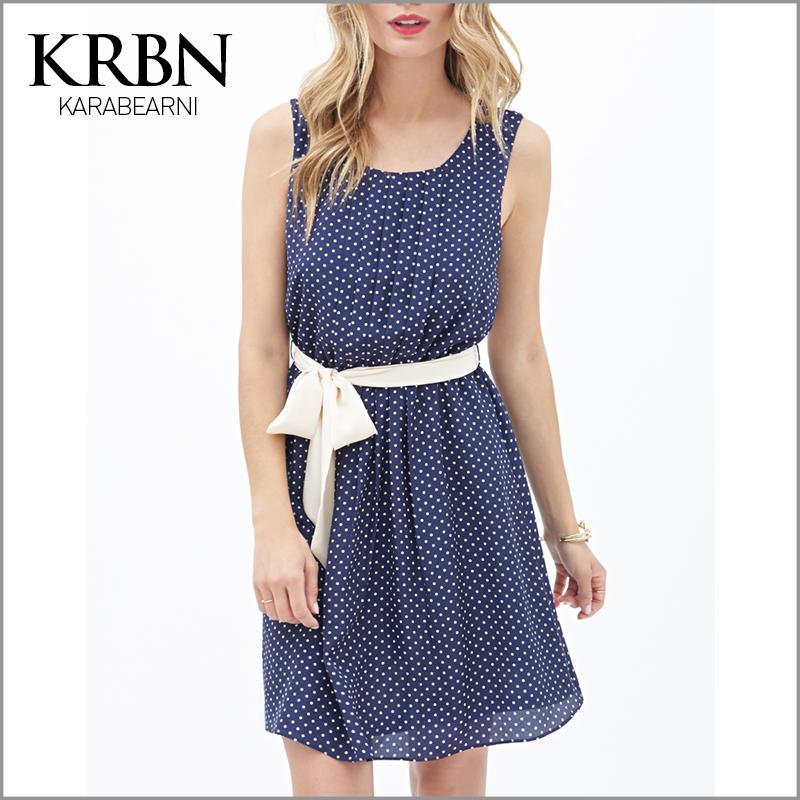 womens summer dresses 2015 summer plus size women clothing women dress chiffon casual vintage dress mini dot beach dress K15012(China (Mainland))