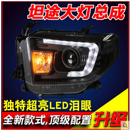 Free shipping!LED headlights HID bifocal lens headlamps Angel Eyes Xenon Headlight assembly fit for Toyota new Tundra 2014(China (Mainland))