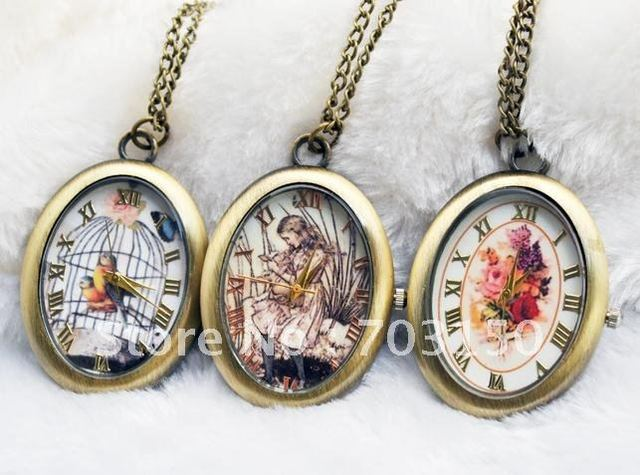 Model 7 Retro Style Antique pocket watch crystal ball Fob watch Japan quartz movement as necklace 10pcs/lot+free shipping
