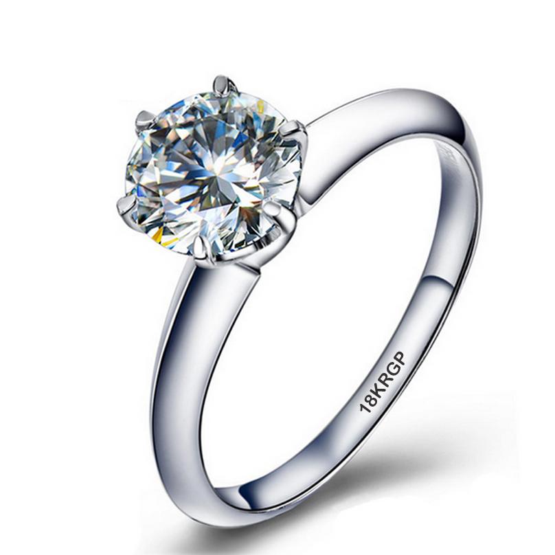 Big 95% OFF!!! Real White Gold Filled Rings Set 1 Carat Sona CZ Diamond Engagement Rings 18K Gold Wedding Rings For Women YJR003(China (Mainland))