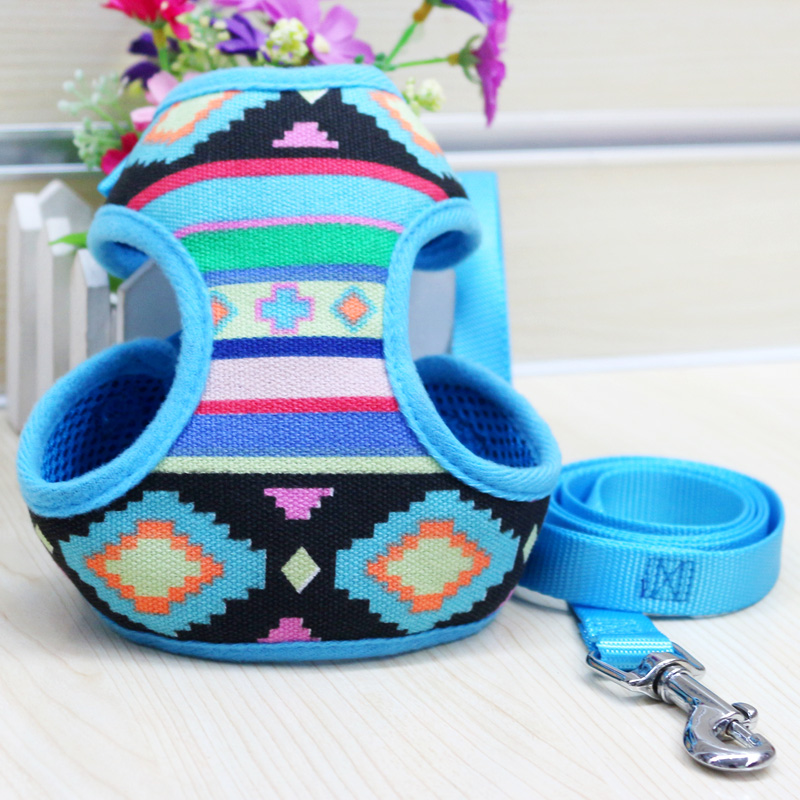 Free Shipping Adjustable Soft Mesh Fabric Padded Dog Harness font b Tartan b font Puppy Pet