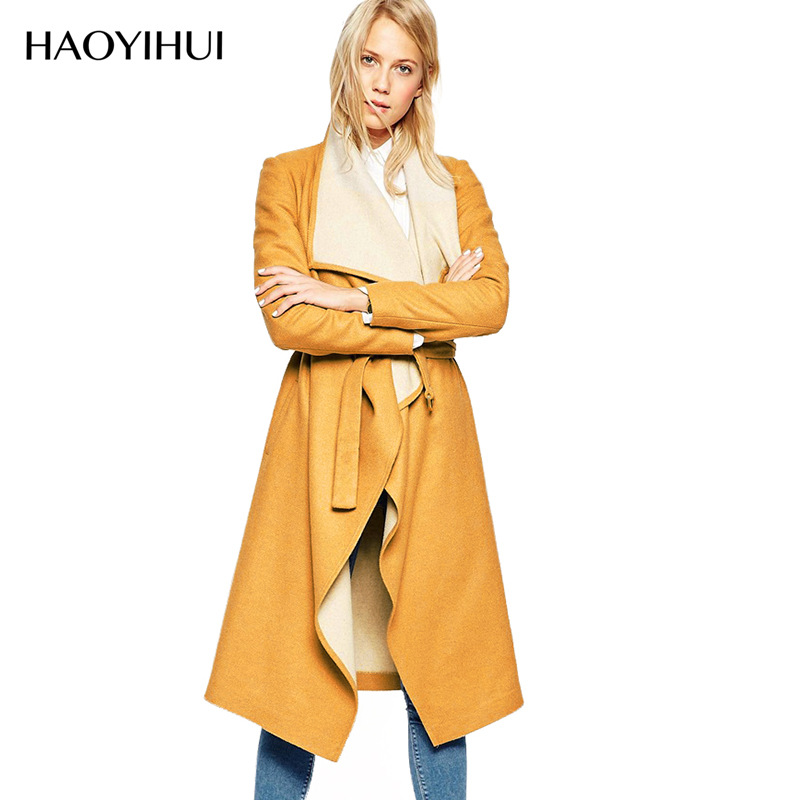 2016 New Arrival Womens Fashion Spring Yellow Long Coat Women Slim Trench Coat with Belt CQ0036Одежда и ак�е��уары<br><br><br>Aliexpress