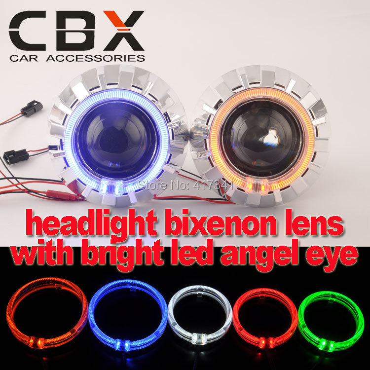 Free Shipping H4 H7 Mini 2 5 inches Bixenon Xenon Projector Lens with High Bright LED