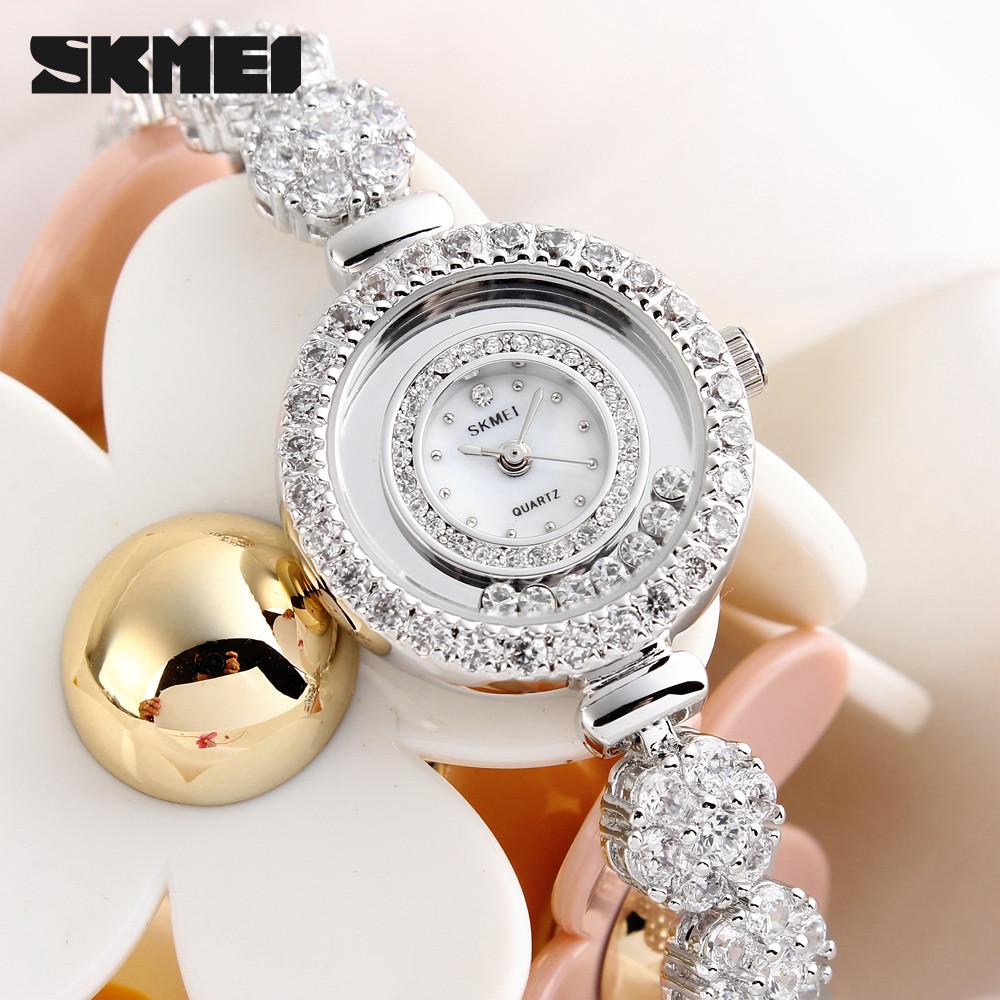 Skmei Часы 30 М Водонепроницаемые кварцевые Shell циферблат Стекло зеркало Классический Время женская Мода Роскошный Браслет