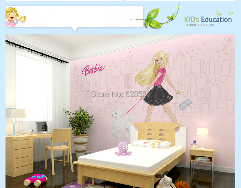 Buy free shipping kids sitting bed room for Barbie wall mural