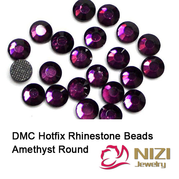 Crystal Rhinestones Amethyst Round Glass Flatback DMC Hotfix Rhinestones With Glue Backing New Iron On Strass For DIY Garment<br><br>Aliexpress