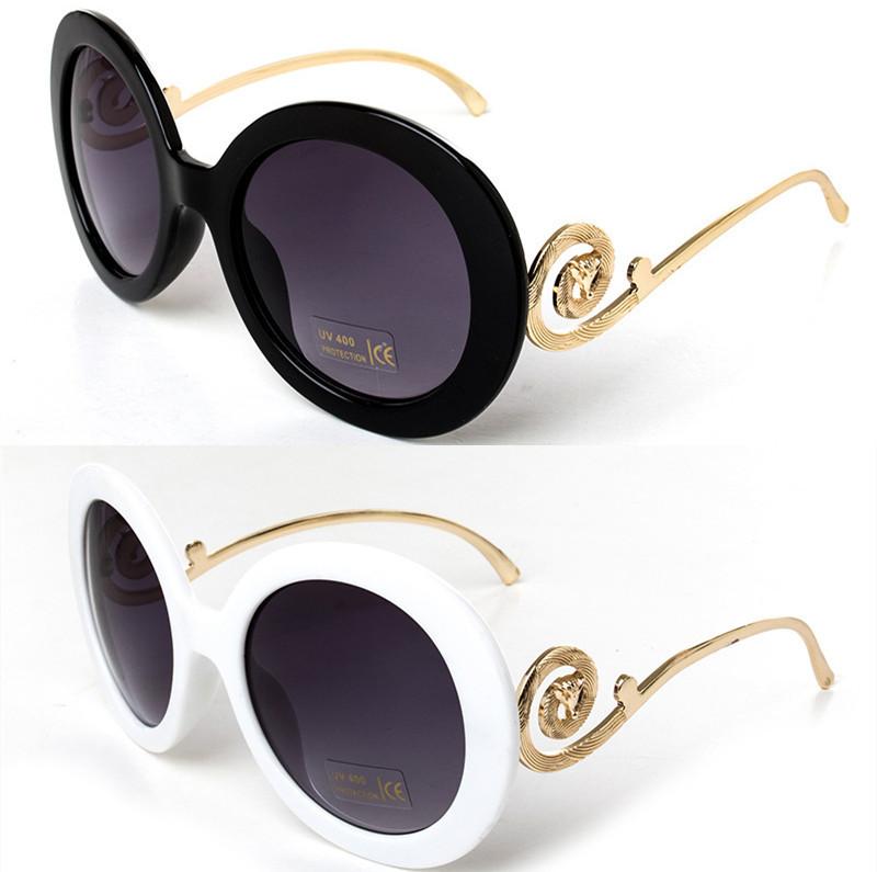 4 Color Round Big Frame Fox Metal Leg Glasses 2014 New Vintage Baroque Fashion Summer Cool Sunglasses Women Brand Designer(China (Mainland))