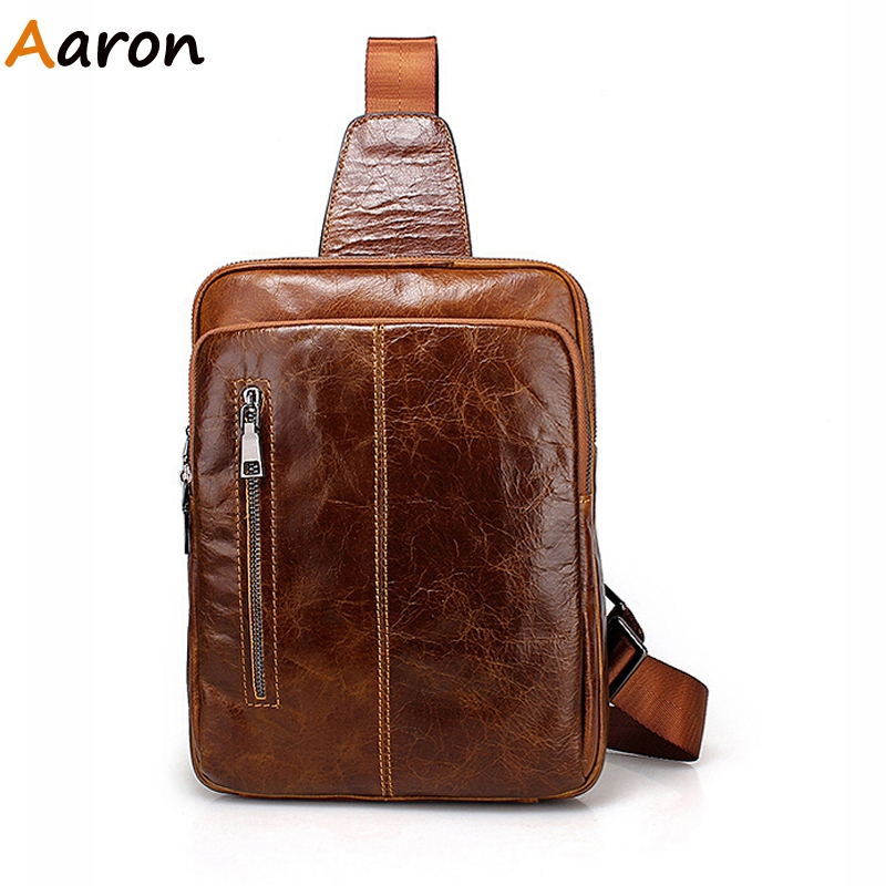 Aaron - Bolsas De Marca Vertical Real Cowhid Leather Chest Bags For Male,Retro Fashion All Match Mens Shoulder Bolsa Zipper Open