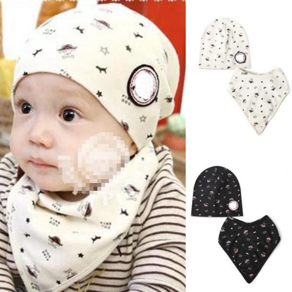 Baby Bibs + Hat Boys Girls Saliva Towel Toddler Bandana Triangle Head Scarf Cute Wholesale(China (Mainland))