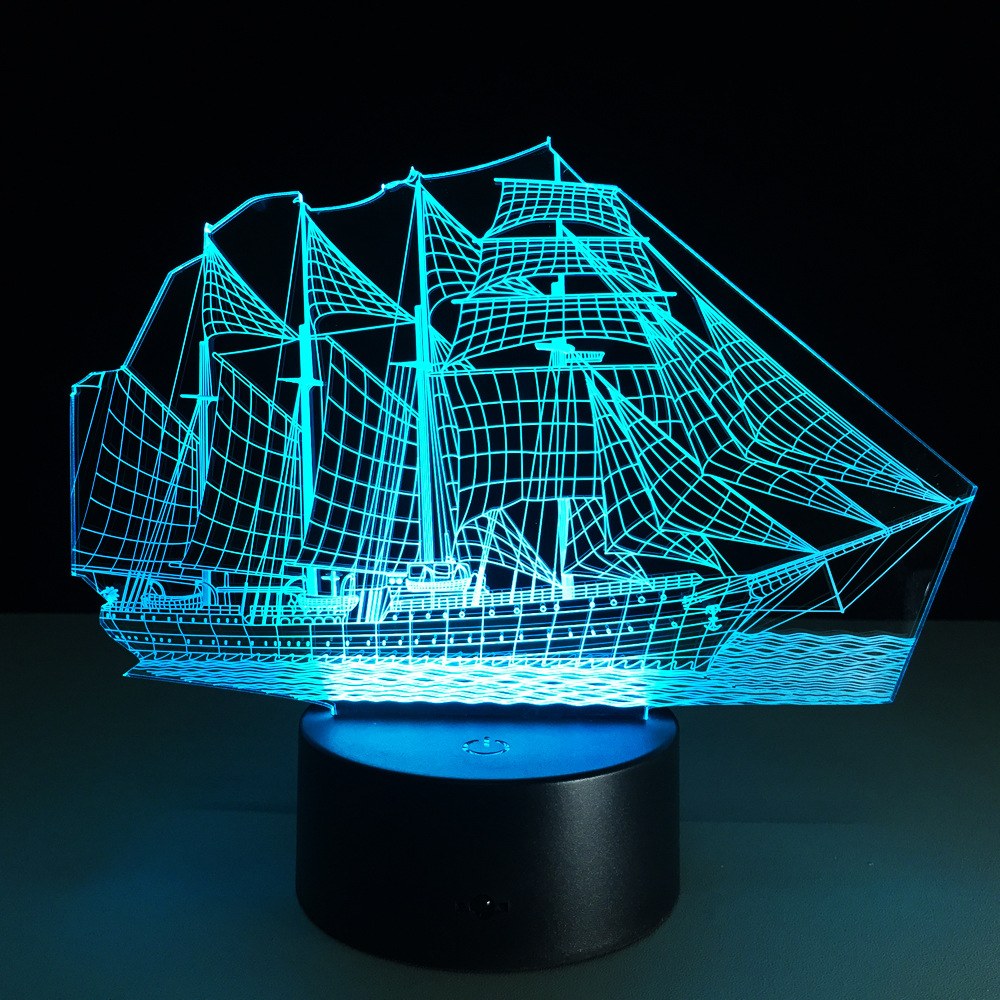 Sailing Boat Acrylic 3D Stereo Vision Lamp 7 Color Change  Lamp Remote ouch Switch Bedroom Bedside Lamp For Kid's Gift