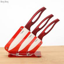 "TINGTING ceramic knife set 3 ""4"" 5 ""with acrylic knife holder stand kitchen knives cooking tools beauty gift red handle(China (Mainland))"