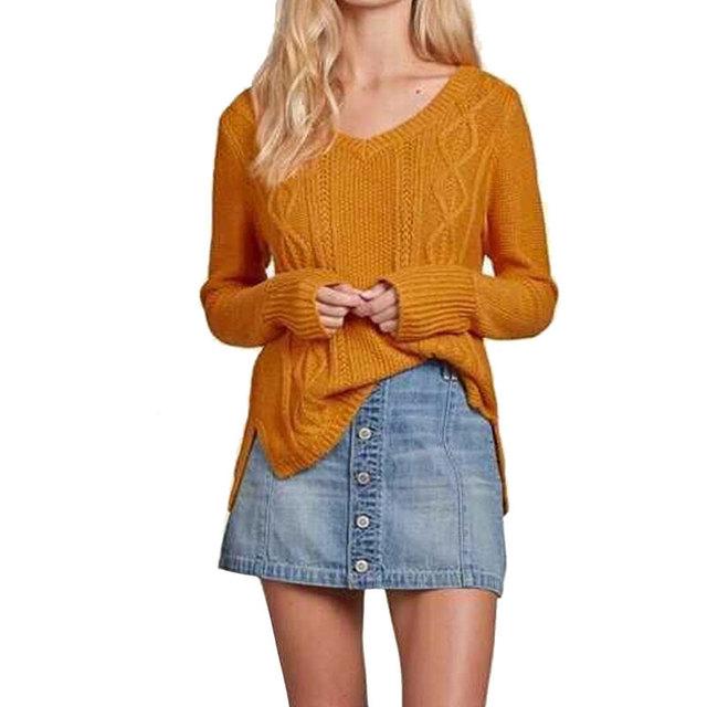 Женщины основные V шеи свитера повседневная с длинным рукавом трикотажные пуловеры ...