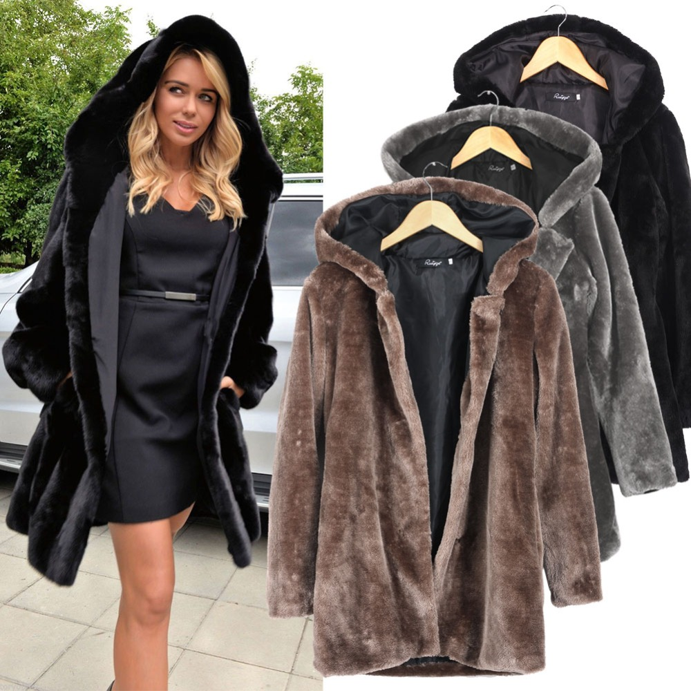 femmes en fausse fourrure manteaux d 39 hiver 2015 veste mode vison renard col moyen long manteau. Black Bedroom Furniture Sets. Home Design Ideas