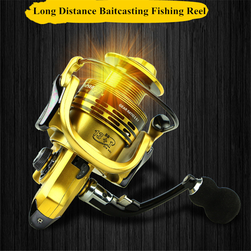 Top Quality Gapless Full Metal Baitcasting Fishing Reel 13+1BB 5.1:1 Speed Ratio Fishing Reels for Sea Fishing Gear Tackle(China (Mainland))